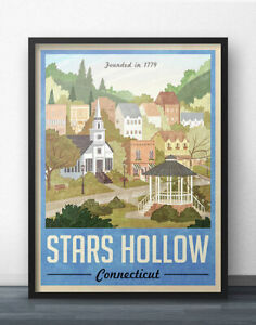 Stars Hollow Poster - Vintage Travel Poster - Inspired by Gilmore Girls