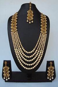 Bollywood Indian Fashion Kundan Pearl Gold Plated Ethnic Beads Jewelry Set