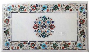 18 x 36 Inches Marble Coffee Table Top Multi Color Gemstones Inlaid Corner Table