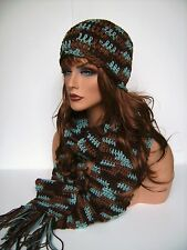 BROWN AND TURQUOISE HAND CROCHET HAT AND SCARF SET  BEANIE SKULL CAP BERET RASTA