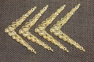 "4 old decorative Brass Corners Picture Frame Clock 2 1/2"" Appliques ADORNMENTS"