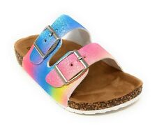 Girls Sandals Kids Double Strap Cork Sole Double Buckle Open Toe Rainbow Glitter