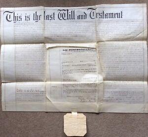 Antique Vellum Document Will with Codicil Elizabeth Stainthorpe of Hexham 1897