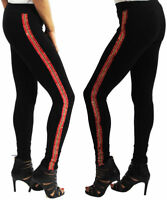 Womens Ladies Skinny Stretchy Full Ankle Length Leggings Side Lace Size 8-14