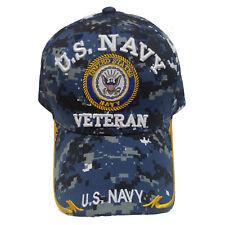 US Military Navy Veteran Yellow Anchor Brim Sky Blue Camouflage Baseball Cap