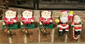 Lot of 5 Vintage Santa Claus Christmas Stocking Hangers Plastic Made In China