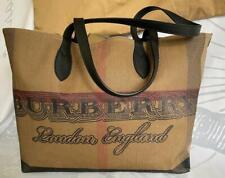 Burberry Doodle Brown Coated Canvas Nova Check Plaid Reversible Tote Bag