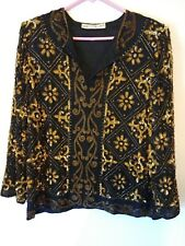 Vintage SCALA Beaded Women's Top, Pullover, Size L, Black & Gold, #587