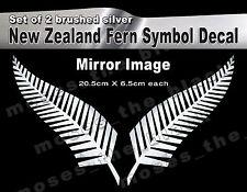 Brushed silver NewZealand Fern Symbol mirror Decal 20.5X6.5cm  wall/Car Sticker