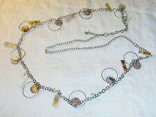 SILVER METAL BELLY WAIST OR NECKLACE CHAIN BELT HANGING RINGS & SHELL COOL CHIC
