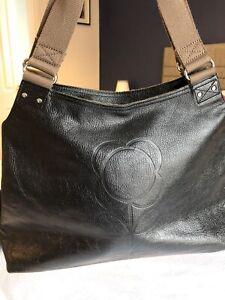 ORLA KIELY Black Leather Flower Stem Embossed Leather Shoulder Bag