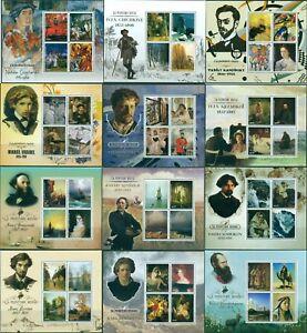 Art Russia Paintings Artists Aivazovsky Kandinsky MNH stamps set 12 sheets