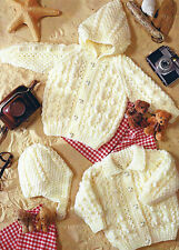 BABY CHILDREN ARAN CARDIGAN & HELMET KNITTING PATTERN BY EMAIL (433)