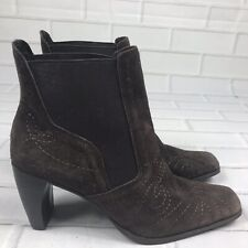 Matisse Women's Size 10 Brown Embroidered Suede Ankle Boots Made in Brazil