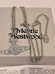 Vivienne Westwood Bas Relief Crystal Pendant Necklace New with Box