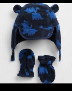 BABY GAP 2pc SET Navy blue DINOSAUR fleece Trapper Hat MITTENS Boy 6-12 Months