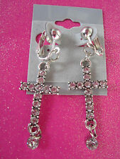 Modern Day Crystal Cross Dangle Clip On Earrings