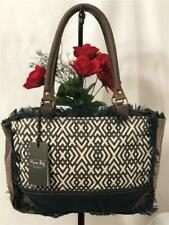 "NWT Myra ""X"" Design Dark Brown Canvas Shoulder Tote Bag #S-1044"
