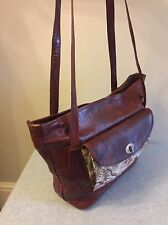RARE VINTAGE TAN LEATHER ORIENTAL TAPESTRY SHOULDER TOTE SHOPPER BAG 1970`S