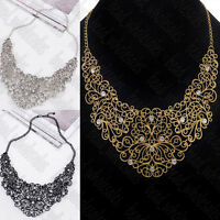 Charm Women Chain Statement Collar Bib Pendant Chunky Crystal Necklace Jewelry