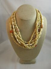 """Vintage Beaded Necklace Multi-Stranded Ivory Beads 18"""" Long Silvertone Closure"""