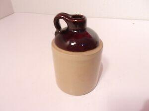 """Vintage Brown Stoneware Small Moonshine Jug Crock USA 5"""""""