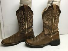 VTG WOMENS ARIAT ATS SQUARE TOE COWBOY BROWN BOOTS SIZE 7.5 B