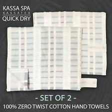 2PC KASSA SPA by Kassatex QUICK DRY Hand Towels Raised Texture / Color Stripes