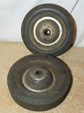 Pair of Vintage Industrial Wagon Cart Wheels, Solid Rubber Tires