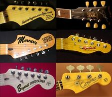 2 x Guitar headstock decal lacquer safe Waterslide customised to your specs