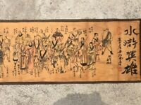 335cm Collect Old Decor Chinese Scroll Painting Water Margin hero 水浒英雄