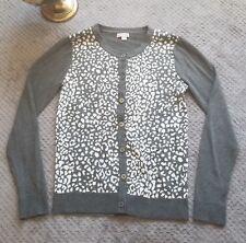 Merona Womens Medium Gray Cheetah Animal Print Cardigan Button Front Cotton