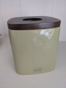 Ceramic Kleenex Tissue Box Cover Brown wooden top and light green bottom