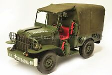 Handmade 1944 WC51 USA Jeep Military Vehicle Tinplate Antique Style Metal Model