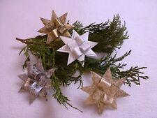 Fröbelsterne; Weihnachten; Deko; Weiß, Beige, Gold und Silber; 12er Set