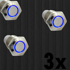 3x 16mm 12V Blue Led Angel Eye Push Button Metal ON-OFF Switch For Car Sale