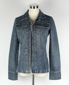 Womens TARGET Size 8 Denim Jacket Semi Fitted Stretch Blue Faded Retro Style