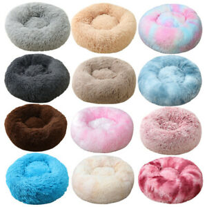 XS-XXL Pet Dog Cat Calming Bed Comfy Shag Fluffy Warm Bed Nest Mattress Donut