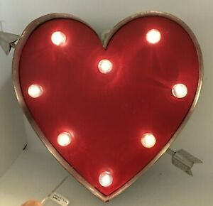 """Marquee Red Heart w/ Arrow Theater LED Light Up 3D Metal Sign 9"""" Valentine's Day"""
