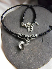 """Ethnic necklace black glass beads WITCH HAT pendant earrings 15-17"""" goth wicca"""