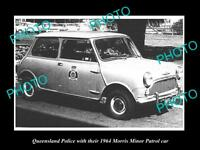 OLD LARGE HISTORIC PHOTO OF THE QUEENSLAND POLICE MORRIS MINI PATROL CAR 1964