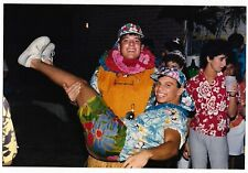 Vintage 80s PHOTO College Guys & Gals at Hawaiian Theme Party