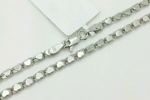 """14k Solid White Gold Heart Link Anklet Chain 10"""" 2.9mm Women"""
