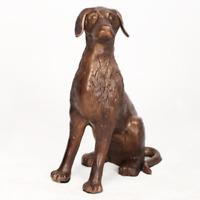 Gartenfigur Hund Dekofigur Tierfgur Skulptur Hundefigur Metall Rostfrei Bronze