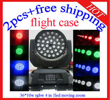36*10W Led Moving Head Zoom RGBW Stage Light Flight Case 2pcs Free Shipping