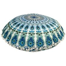 Round Mandala Printed Floor Seating Cushion Pillow Cover Peacock Feather 32x32