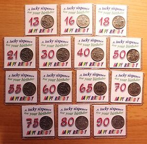 BIRTHDAY LUCKY SIXPENCE COIN 13TH 16TH 18TH 21ST 30TH 40TH ETC KEEPSAKE GIFT