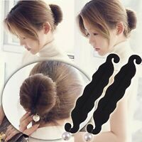 2 Pcs Sponge Hair Styling tool & accesoriess Donut Bun Maker Magic Former Ring