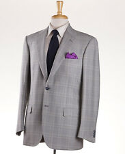 NWT $4495 BRIONI Light Gray-Green Check Wool Sport Coat 44 R Two-Button