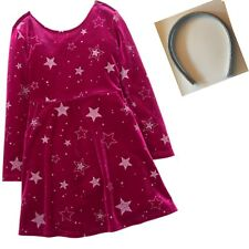 Gymboree Winter Star Raspberry Velour Silver Star Dress & Headband 5 6 7 8 NWT